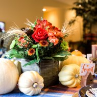 Orange & Blue Thanksgiving Table Decorations