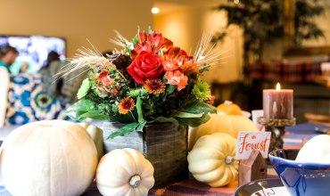 Orange & Blue Thanksgiving Table Decorations