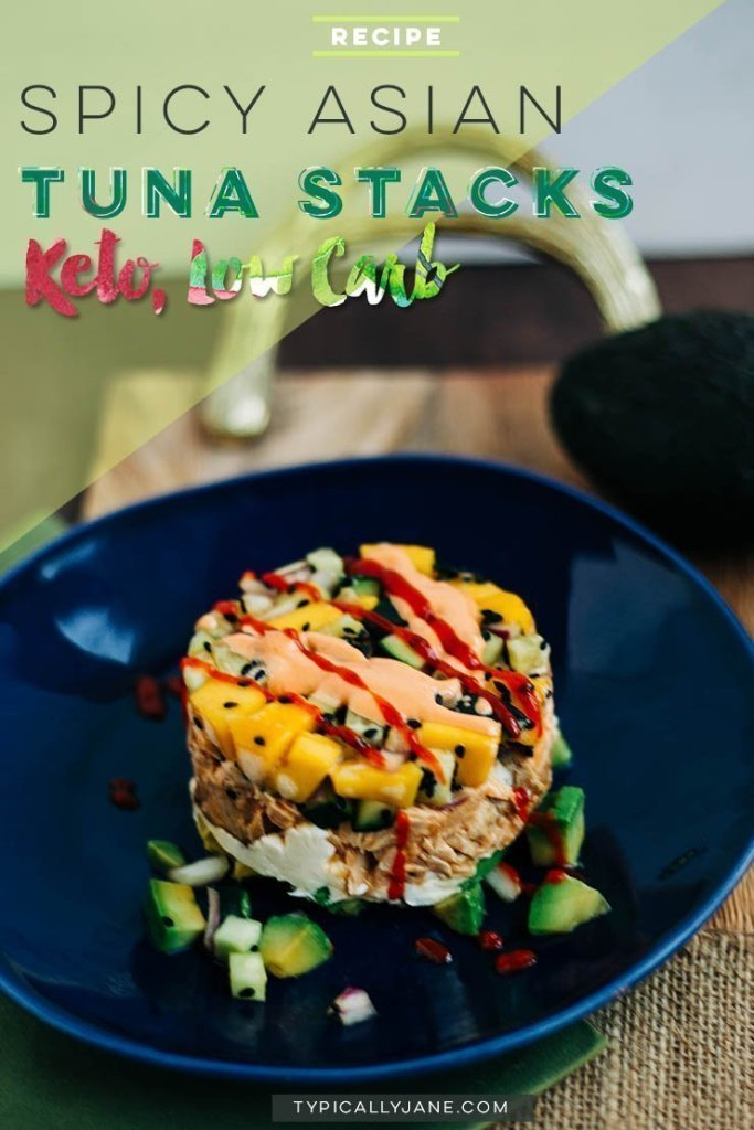 spicy asian tuna stacks, easy date night dinner recipe, dinner recipe, keto dinner, low carb recipe,