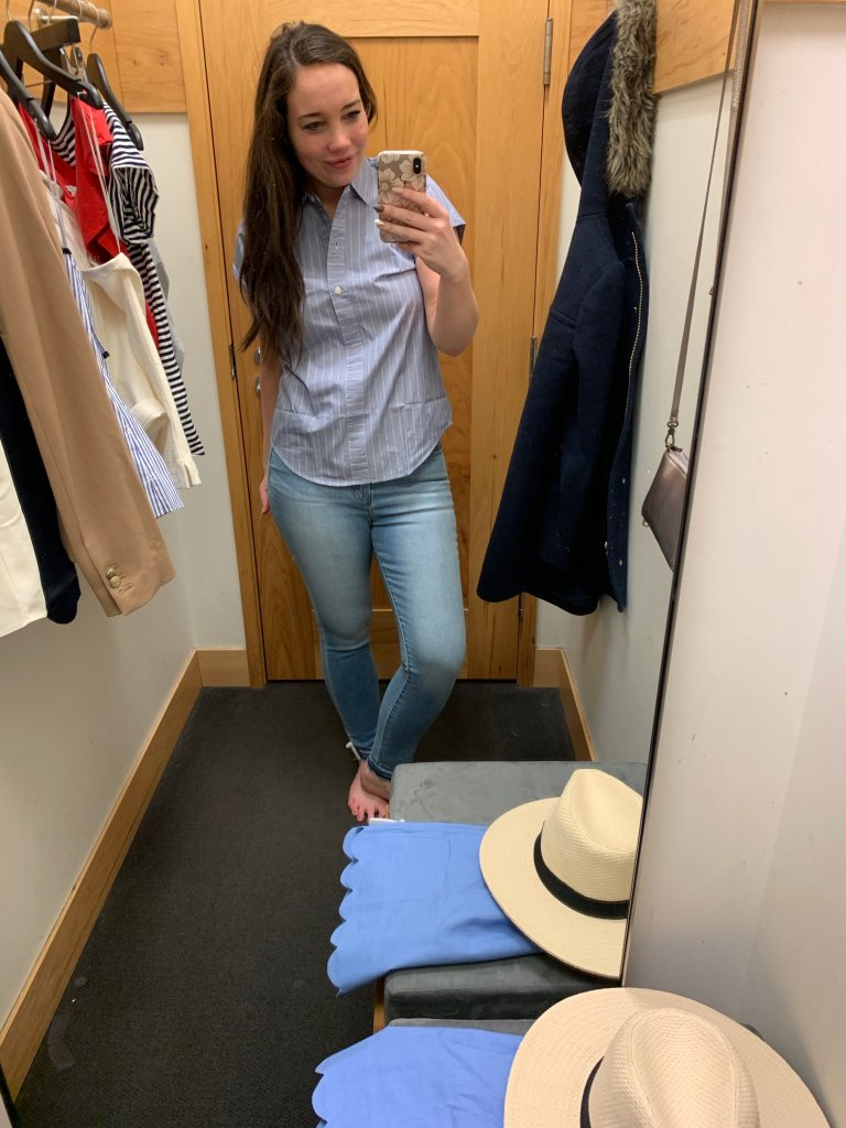 j crew factory try on haul, button down, preppy outfit, spring outfit ideas