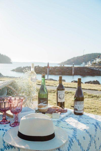 date night picnic, marina, beach, pacific. northwest, wine