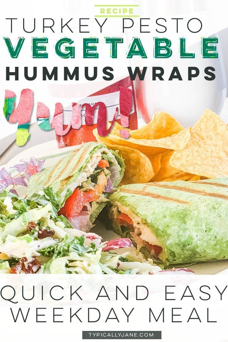 Turkey Pesto Vegetable Hummus Wraps