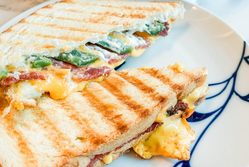 Jalapeño popper grilled cheese, Super Bowl food recipe, weeknight dinner recipe