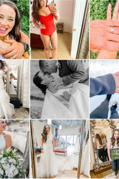 Top Nine Instagram Posts for @typicallyjane 2019, just married couple, woman in swimsuit, hands with wedding bands, woman trying on wedding dress, couple wedding portrait, engagement ring and nails, bride portrait, woman trying on wedding dresses, I do bridal say yes to the dress