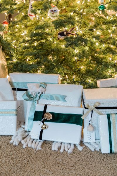 neutral Christmas gift wrapping