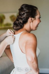 bride getting ready, twisted bridal updo