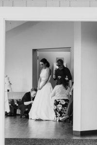 bustling the brides dress
