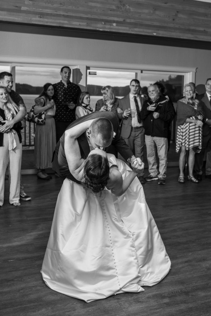 bride and groom first dance dip, first dance song Ella James At Last beach wedding