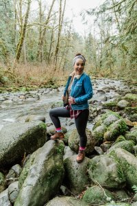 young woman on hike in gold bar wa Pacific Northwest Wallace Falls