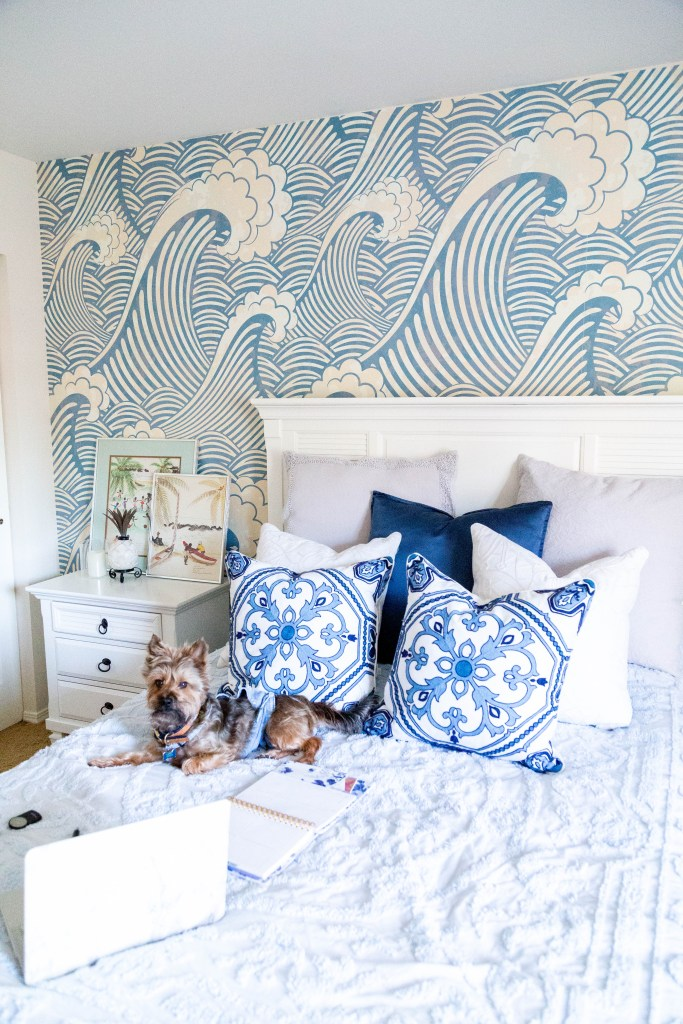 guest bedroom makeover, waves, beach house, yorkie mix, MacBook on bed
