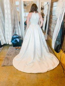 I Do Bridal Seattle Review, impressive wedding dress train, a line wedding dress, button back