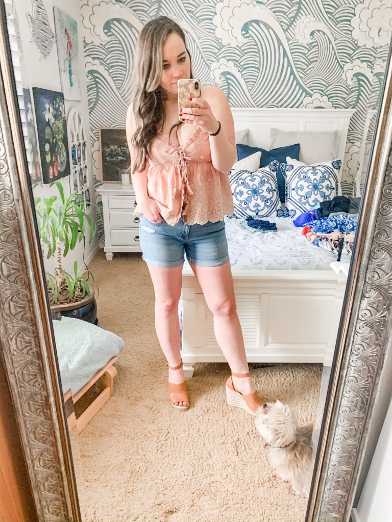 free people outfit, summer outfit ideas, cutoff shorts