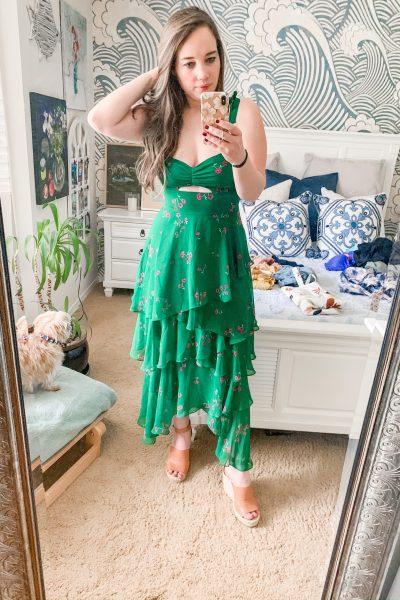 green summer dress, cutout dress, tiered dress, beach vacation outfit ideas, date night outfit, concert outfit idea