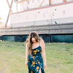 woman in floral spring silk slip dress