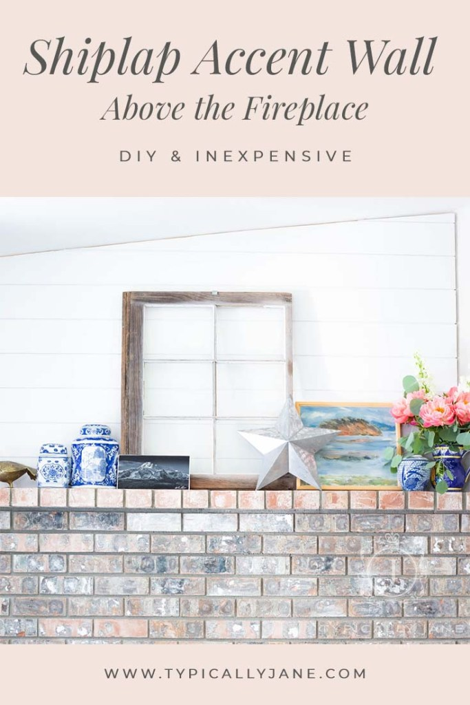 Shiplap Accent Wall Above the Fireplace an easy and inexpensive DIY that will totally transform your fireplace with a coastal design