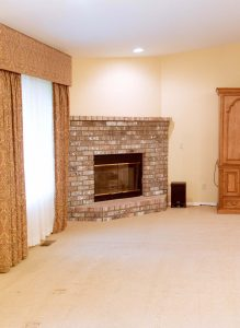 brick fireplace before 1990 rambler