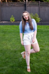 classic striped shirt with paperboy shorts and pearl hair clip outfit perfect for summer