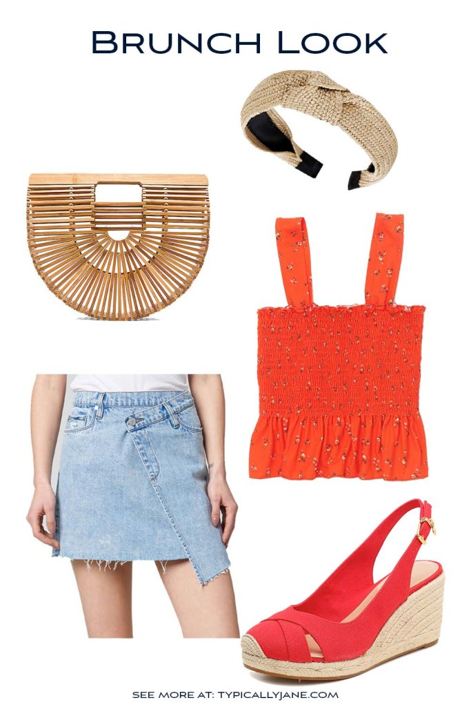 brunch look outfit is super cute with red smocked stop and wedge heels that is casual while still really cute for women