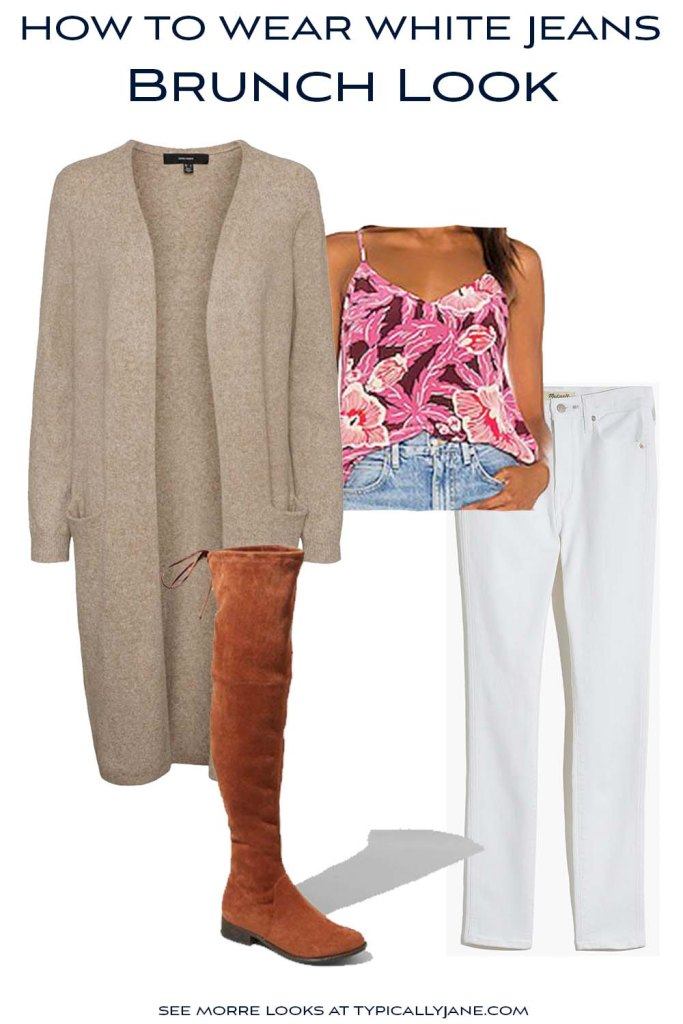 Flatlay outfit with white jeans, cami, and duster cardigan
