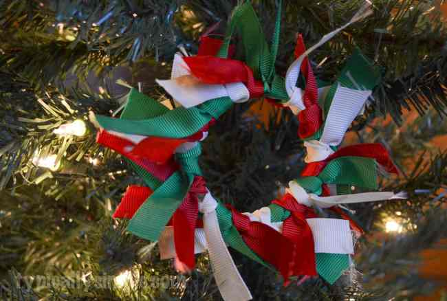 Ribbon Wreath Christmas Ornament