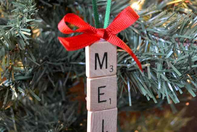 Scrabble Tile Christmas Ornament