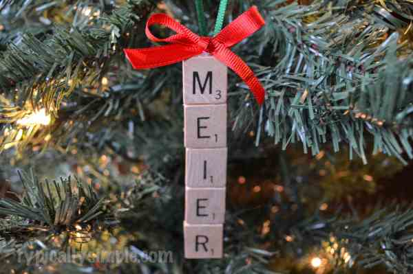 Scrabble Tile Christmas Ornament - Typically Simple