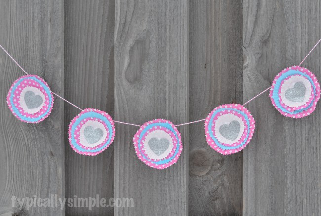 Cupcake Liners Garland for Valentine's Day