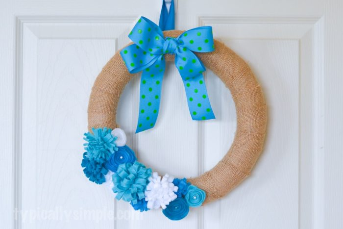 Felt Flower Burlap Wreath-10