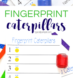 FINGERPRINT CATERPILLARS CRAFT - Homeschool Printables for Free [ 1800 x 735 Pixel ]