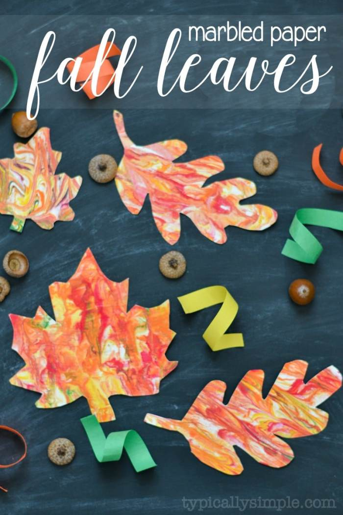 Grab a few supplies and make this unique marbled paper fall leaves with the kids! A fun craft project for fall!