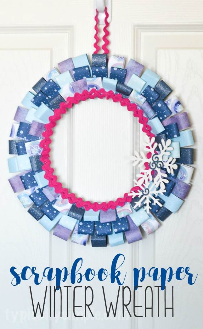 Dig through your scrapbook paper stash to make this fun one-hour wreath craft project! This scrapbook paper winter wreath is perfect for that time between taking down Christmas decor and putting up Valentine's day decorations. Or change up the colors and prints of the paper to make a wreath for any holiday or season!