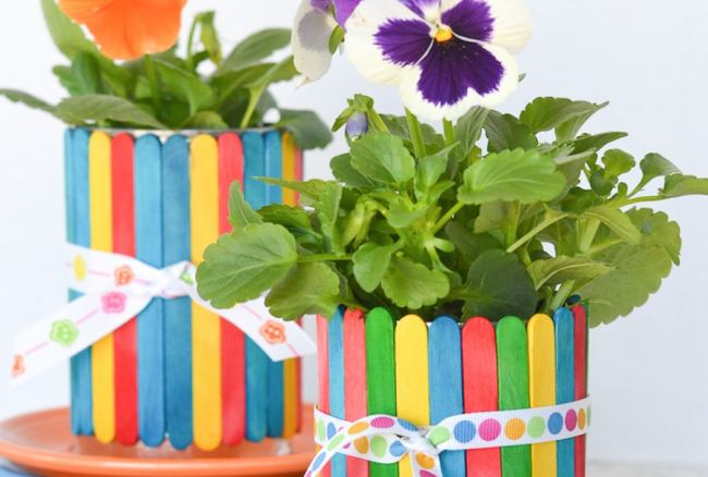 Craft Stick Flower Pots