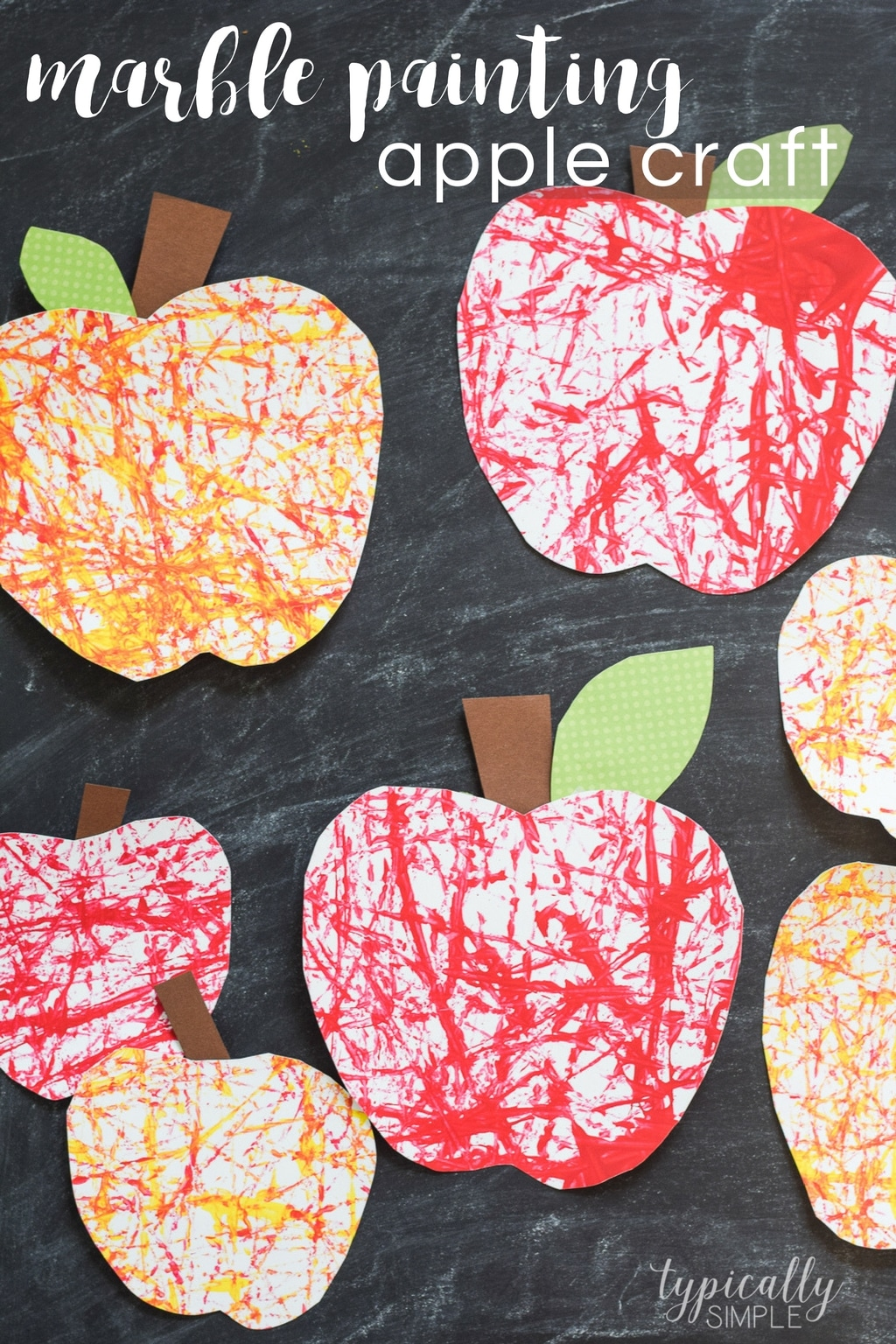 Marble Painting Apple Craft