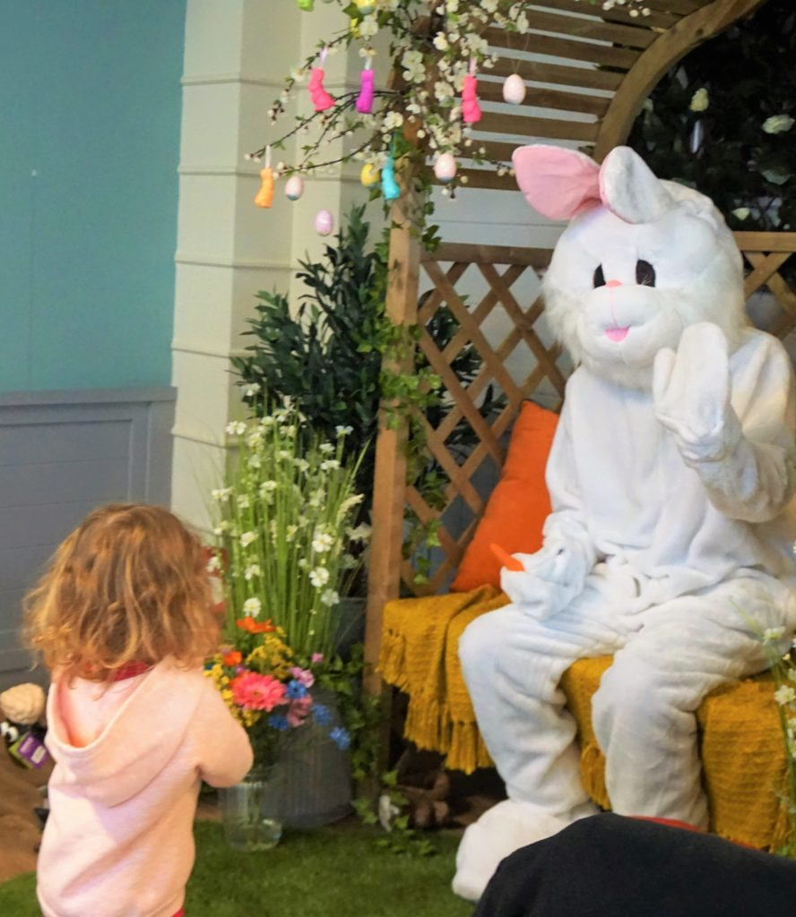 Meeting the Easter Bunny in his Easter Pergola at Bridgemere Garden Centre