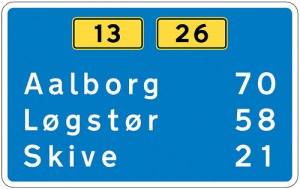Denmark uses the Dansk Vejtavleskrift typeface. The typeface is derived from the British Transport typeface.