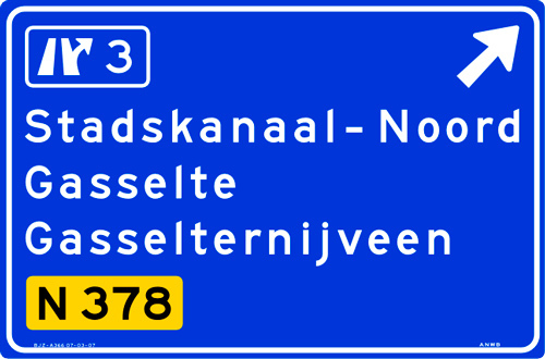 Netherlands use typefaces derived from FHWA typeface: ANWB/RWS Cc (narrow), Dd (medium) and Ee (wide).