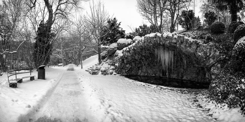Lange hielt der Wintermantel: Verschneite Kosterhalbinsel Wettingen.