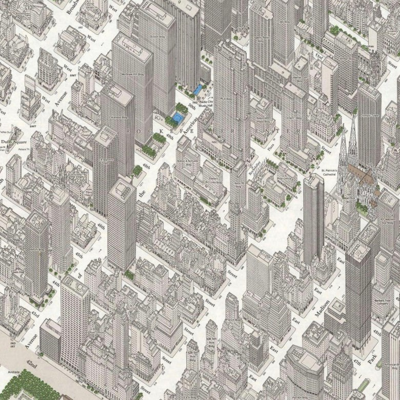 Axonometric Map of Midtown Manhattan in Detailed Axonometric Projection