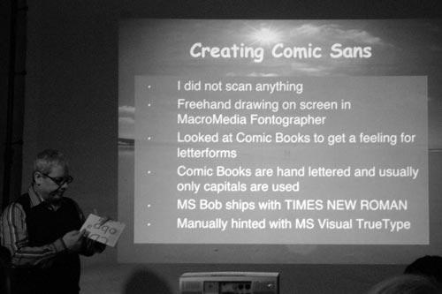 16. Berliner Typostammtisch: Vincent Connare erläutert die Entstehungsgeschichte seiner Comic Sans