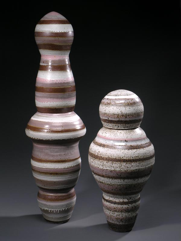Doulbe Lidded Jars, Salt Fired