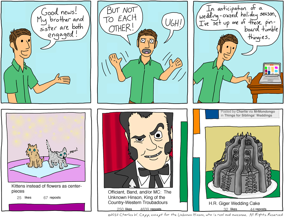 "This comic is one of my few ""pinned"" things on my much-neglected Pinterest page, along with some images of Liberace."