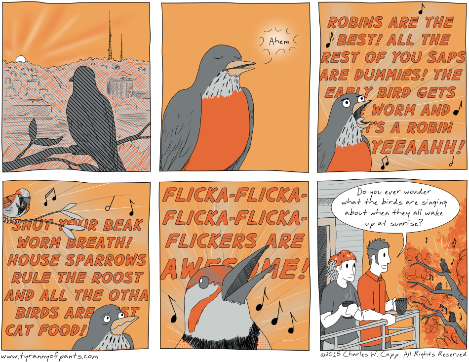 Due to a combination of factors, like upper-case sans-serif letters, and kerning, it may appear to some readers that the Northern Flicker in panel 5 is yelling some vulgarities.  What other hidden messages can you find in the comic?