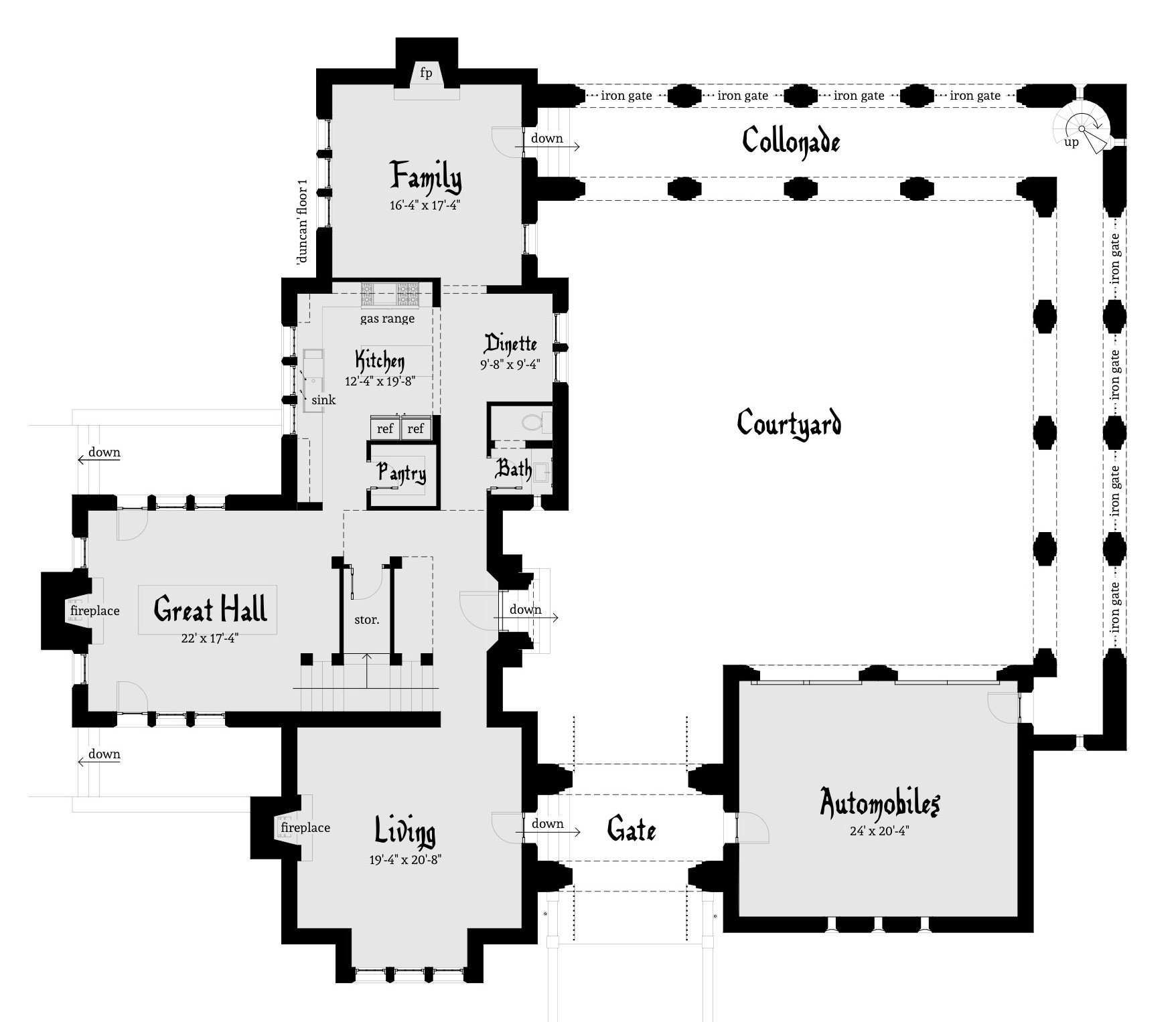 Courtyard Castle Plan with 3 Bedrooms Duncan Castle Plan