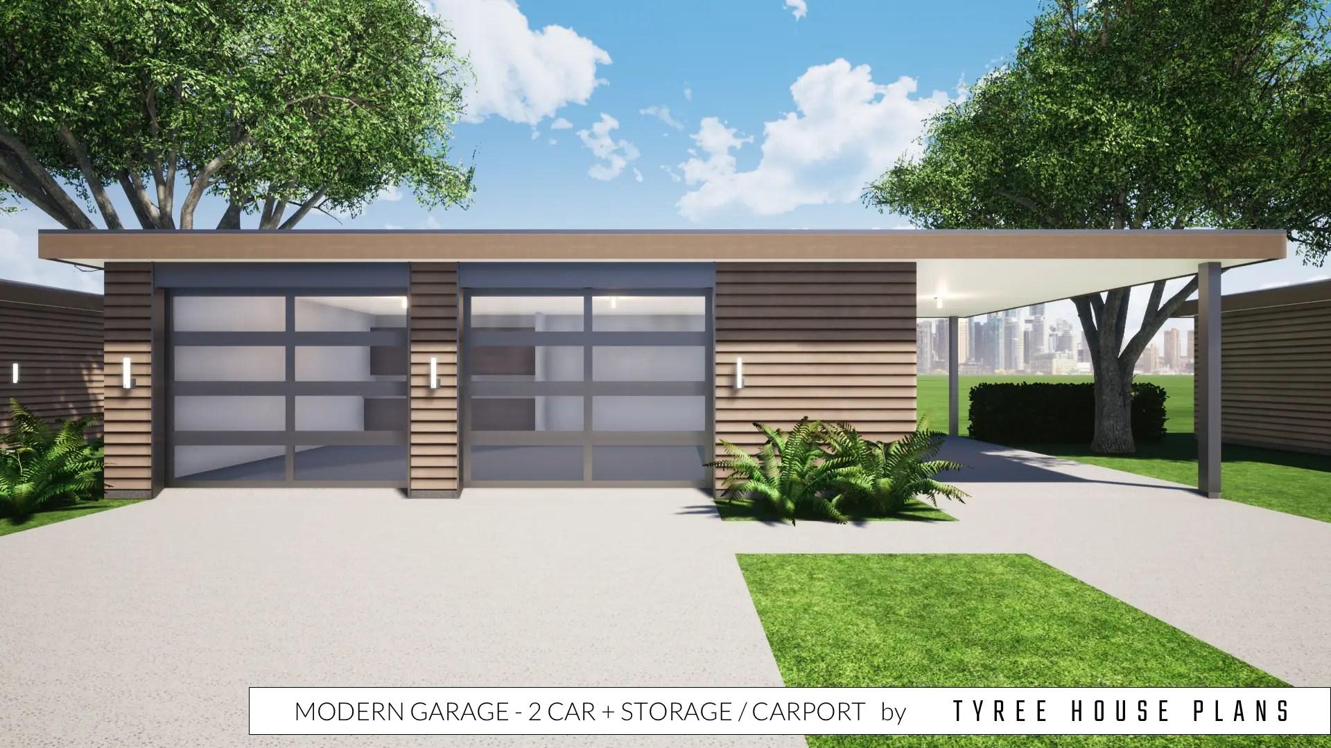 Modern Garage Plan 2 Car Plus Storage And Carport By Tyree House