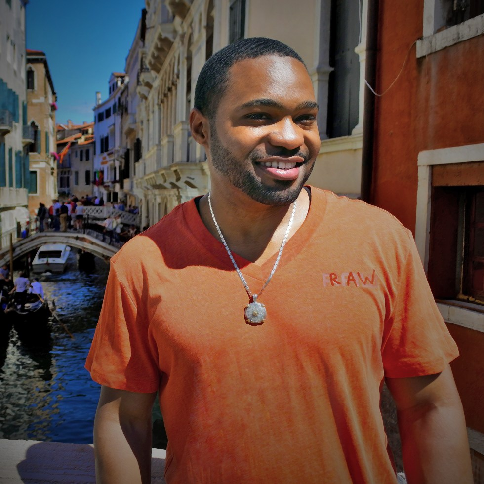 G-Star Raw worn by celebrity musician producer artist Tyrone Smith in Venice Italy with La Prairie products
