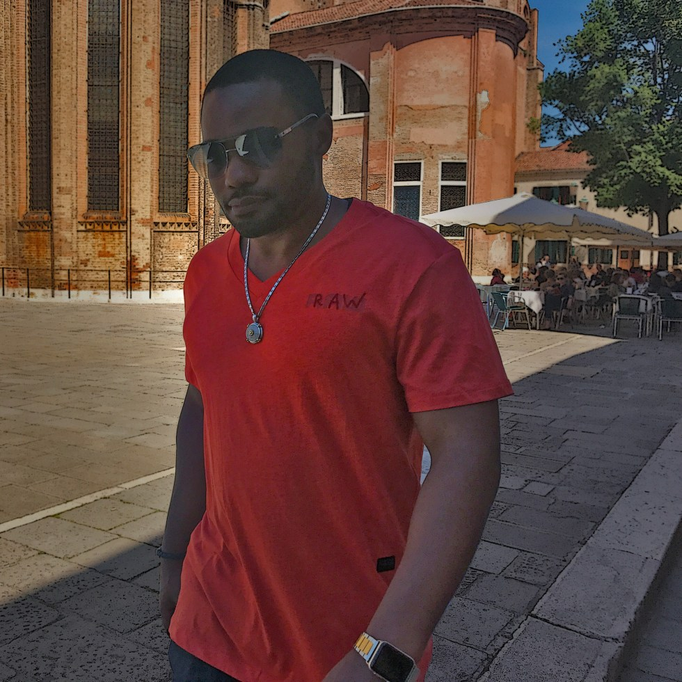 Strolling with celebrity musician producer social digital influencer Tyrone Smith wearing G-Star RAW Louis Vuitton Apple Watch in Italy