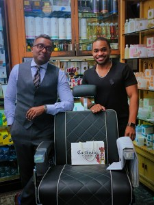 C.O. Bigelow Trading Sheldon Marcelle carthusia profumi Proraso Apothecary NYC with famous celebrity musician producer influencer Tyrone Smith