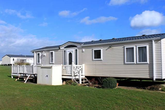 White caravans in a modern trailer park, Scarborough, England.