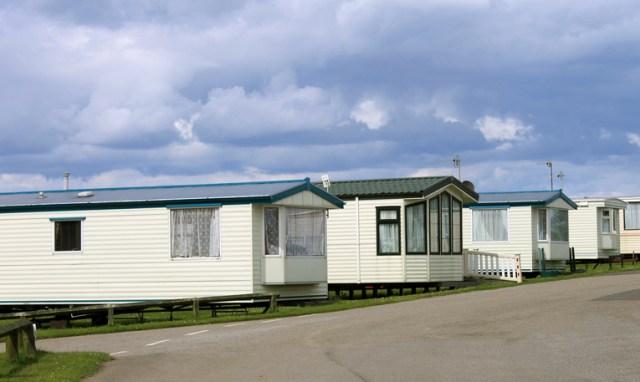 Row of caravan trailers