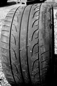 Illegal tyre badly misaligned